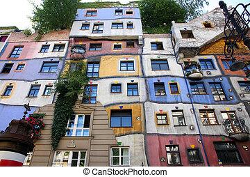 Colourful Facade of the Hundertwasser House in Vienna, Austria