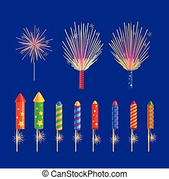 Colourful Firework Rockets on Blue Background