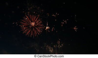 Real firework show shinning and glowing in the night sky