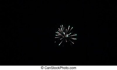 Colourful fireworks exploding high