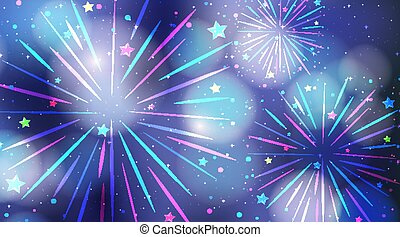 Colourful fireworks on the sky