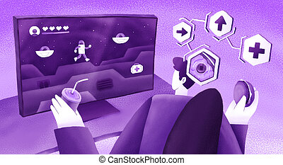 Colourful flat illustration of video games in the brain