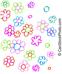 Colourful flowers over white background. Child illustration...