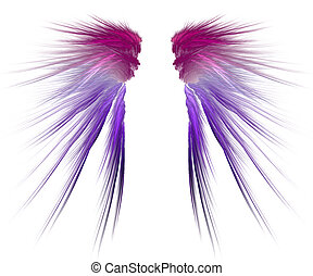 Colourful fluffy wings - Pair of colourful wings on white