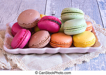 colourful french macaroons on plate - Close-up of fresh...