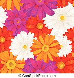 Colourful gerbera flowers seamless pattern