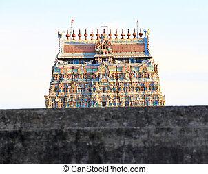colourful gopura in temple complex