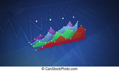 Colourful graph displayed on a blue background