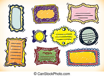 Colourful Hand Drawn Frames - Set of nine different hand...