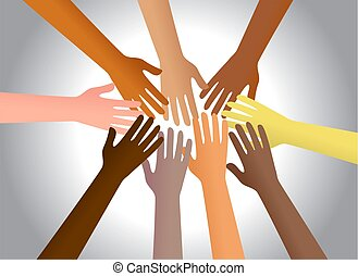 Colourful hands from different cultures reaching out and touching each other.