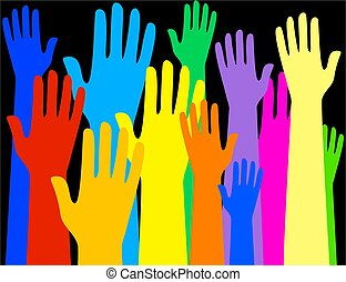 colourful hands - Group of colourful raised hands - ...