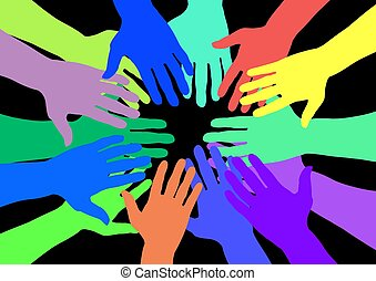Colourful hands - Lots of colourful hands over a black...
