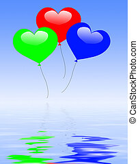 Colourful Heart Balloons Displays Wedding Feast Or Engagement Pa