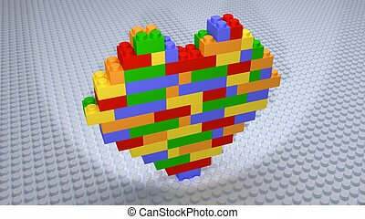 Colourful Heart Bricks Constructed