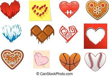 Colourful heart shapes set