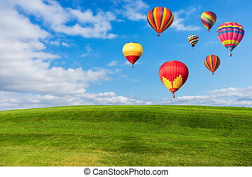 Colourful hot air balloons flying