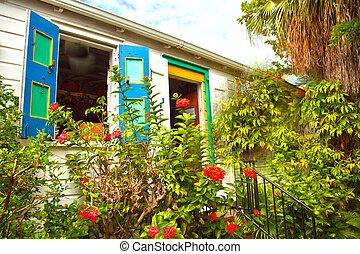 Colourful house in a tropical garden