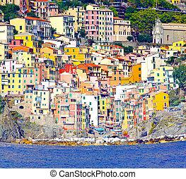 Riomaggiore - Colourful houses in Riomaggiore at Cinque...