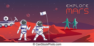 Colourful illustration of the astronauts who are exploring Mars