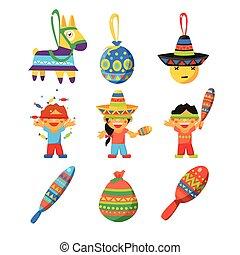 Colourful Indian Set. Childish Vector Illustration