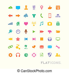 Colourful flat icon designs for mobile and web applications.