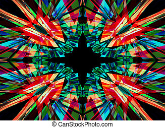 Red, green and black kaleidoscope background