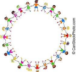 colourful kids - Group of happy and diverse children holding...