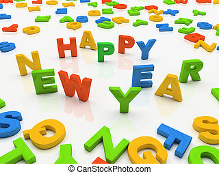 Colourful letters isolated on white background Happy New Year
