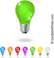 light bulbs - colourful light bulbs isolated on a white ...