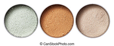 Colourful make up powder in storages