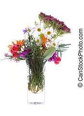 Colourful meadow's flowers in the vase isolated on white