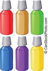 Colourful medical bottles