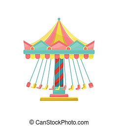 Colourful merry go round, amusement park element vector Illustration on a white background
