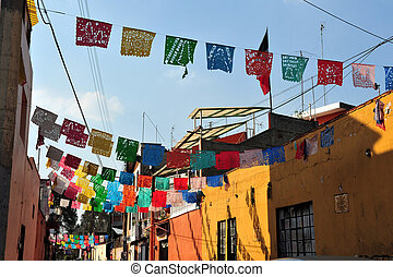 Colourful Mexican Houses - A street of colourful Mexican...