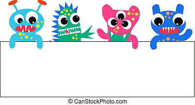 colourful monsters with a placard