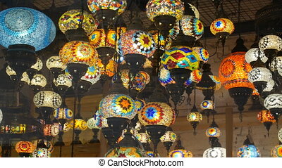 Colourful mosaic lamps in the bazaar
