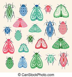 Set of beetles and moths. A collection of vector insects ideal for clip art or print projects.