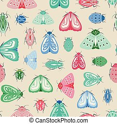 Colourful moths and beetles seamless repeat pattern. A vector design of insects and bugs.