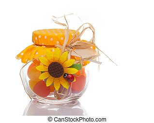 colourful multi coloured candy in a decorative glass jar for a festive gift