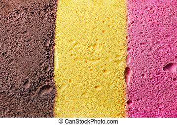Colourful Neapolitan ice cream