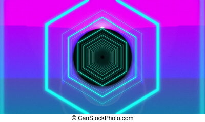 Colourful neon concentric circles with outline hexagons moving on changing coloured background. vintage colour and movement concept digitally generated image.