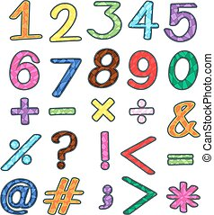 Colourful sets of numbers and mathematical operations on a white background