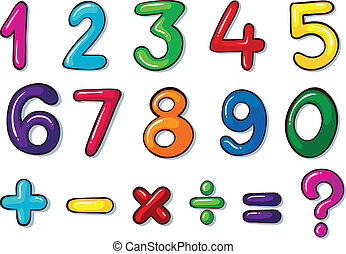 Illustration of the colourful numbers and mathematical operations on a white background