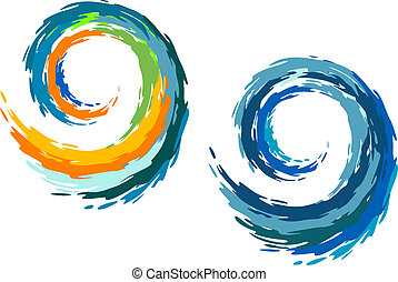 Colourful ocean waves isolated on white background