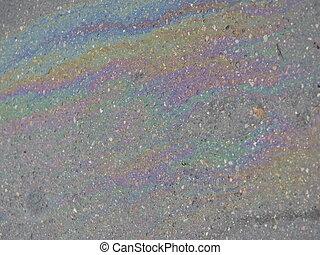 oil spill on asphalt road