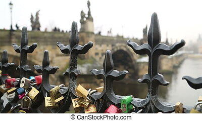 Colourful Padlocks - Love- locks Charles Bridge and Prague...
