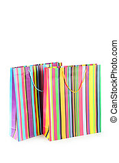Colourful paper shopping bags isolated on white