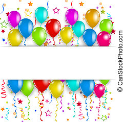 Colourful party balloons, confetti with space for text -...
