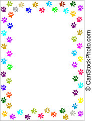 Colourful paw prints border - vector image.