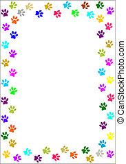 Colourful paw prints border. - Colourful paw prints border -...